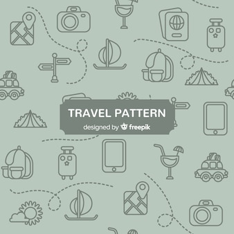 Modèle de voyage avec des éléments et des lignes en pointillés