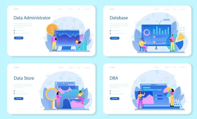 Modèle web d'administrateur de base de données ou ensemble de pages de destination.