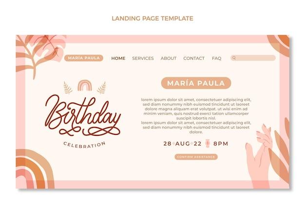 Modèle web d'anniversaire boho dessiné à la main