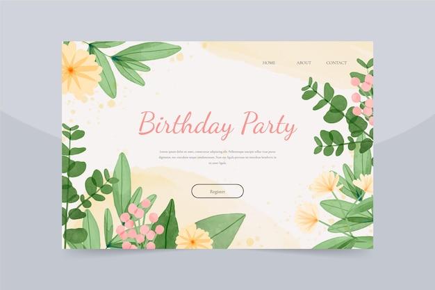 Modèle web d'anniversaire floral aquarelle