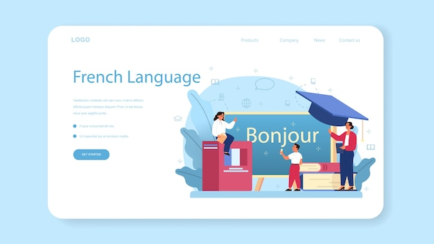 Modèle web d'apprentissage du français ou page de destination.