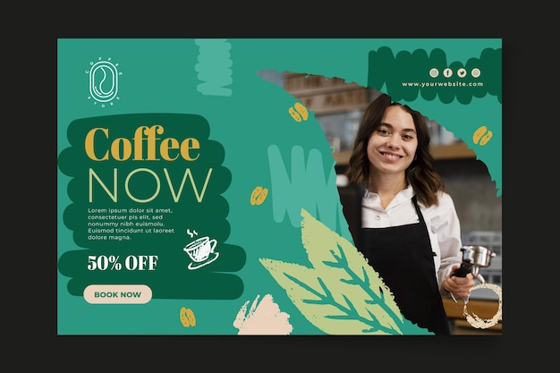 Modèle web de bannière café maintenant
