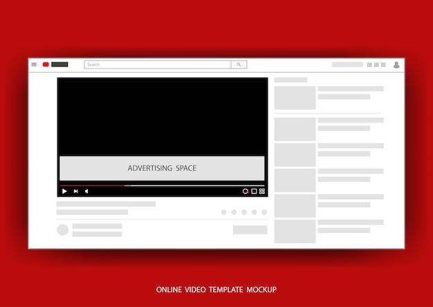 Modèle web de canaux en ligne vidéo mock up avec espace pour la publicité illustration vectorielle.