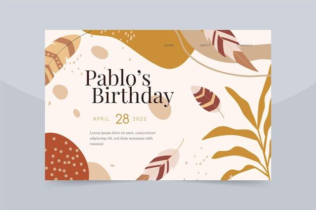 Modèle web de célébration d'anniversaire boho