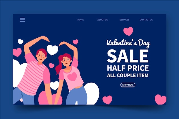 Modèle web coloré pour les ventes de la saint-valentin
