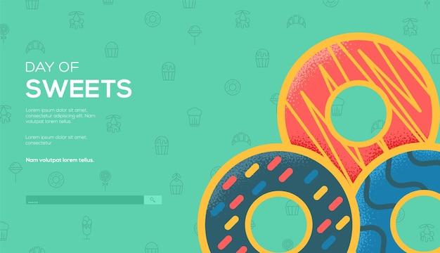 Modèle web de concept de beignets. journée des bonbons.