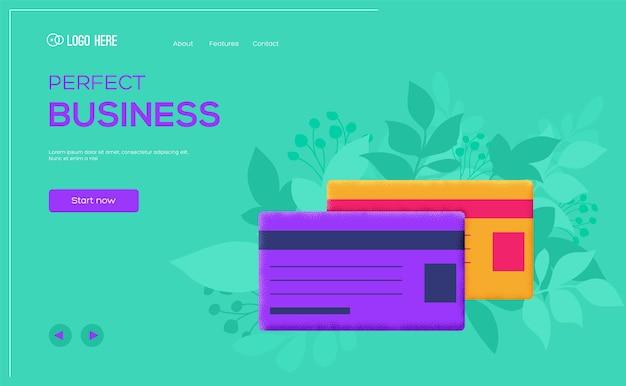 Modèle web de concept de carte bancaire.