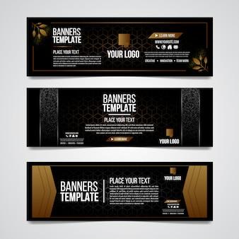 Modèle web de conception de luxe coloré de tiers inférieur noir et or moderne contemporain.