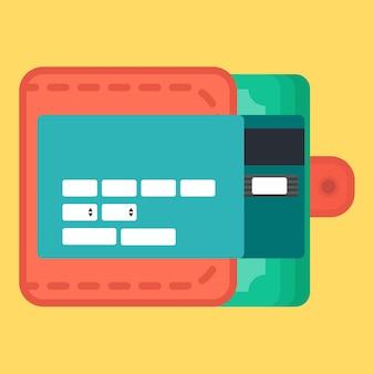 Modèle web, éléments web pour le formulaire de site d'achats en ligne et entrez les données de la carte dans le sac à main. vecteur