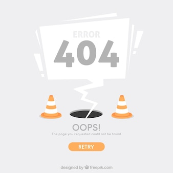 Modèle web erreur 404 avec des cônes dans un style plat