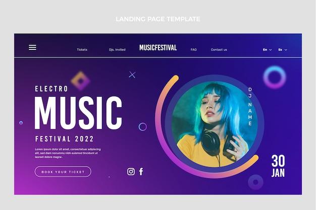 Modèle web de festival de musique coloré dégradé