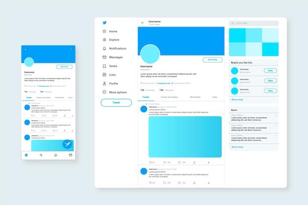 Modèle web d'interface twitter