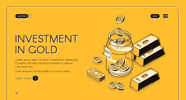 Modèle web d'investissement dans l'or