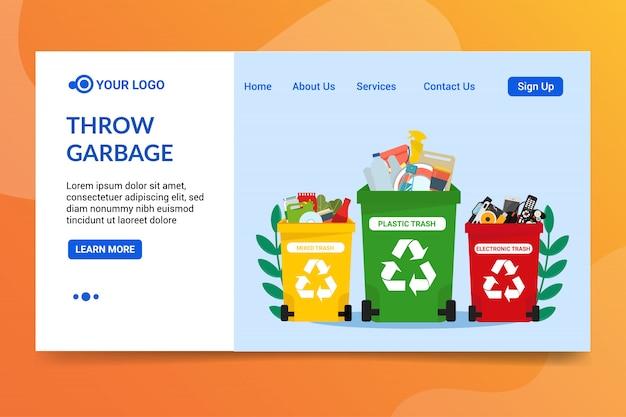 Modèle web jeter les déchets