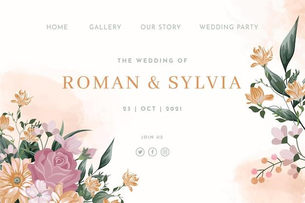Modèle web de mariage floral