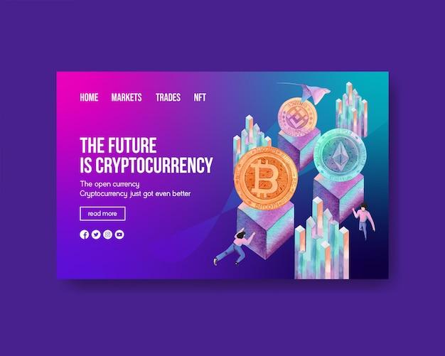 Modèle web avec monnaie crypto dans un style aquarelle