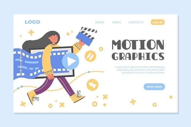 Modèle web de motiongraphics plat organique