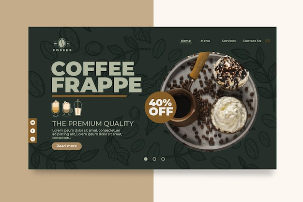 Modèle web de page de destination de café-cafétéria