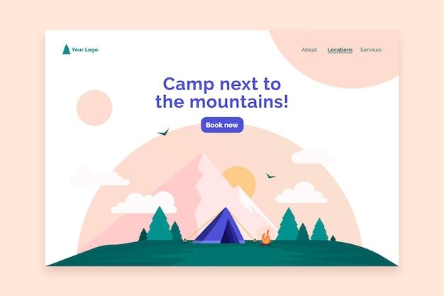 Modèle web de page de destination de camping