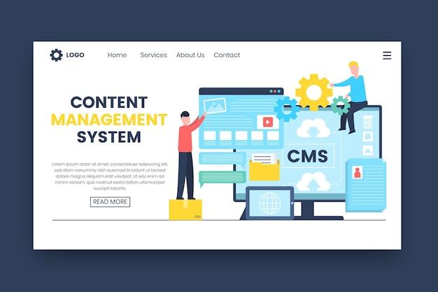 Modèle web de page de destination de concept cms plat