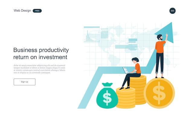 Modèle web de page de destination. concept financier et investissement. retour sur investissement.
