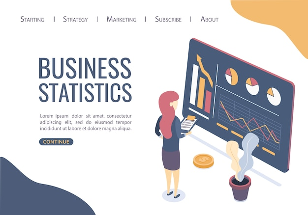Modèle web de page de destination. concept de statistiques sur les entreprises. trouver les meilleures solutions pour promouvoir les idées commerciales.