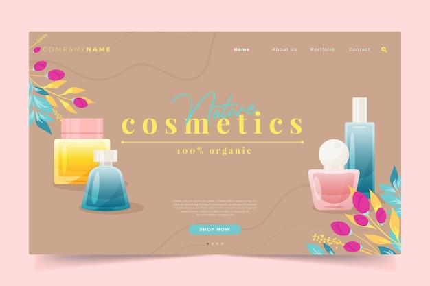 Modèle web de page de destination de cosmétiques nature