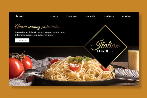 Modèle web de page de destination de cuisine italienne de luxe