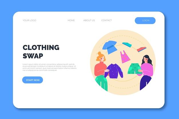 Modèle web de page de destination d'échange de vêtements
