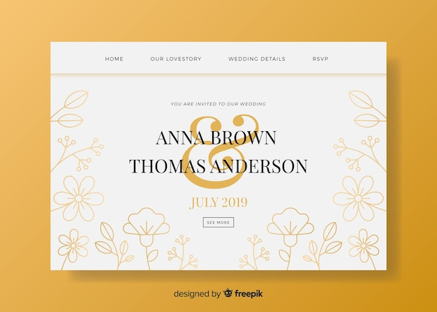 Modèle web de page de destination élégante pour la célébration de mariage