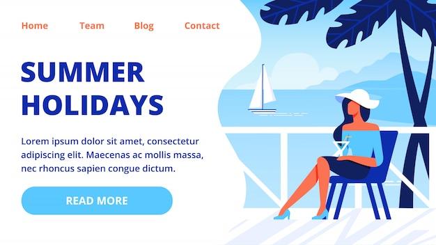 Modèle web de page de destination avec femme au chapeau blanc sur chaise