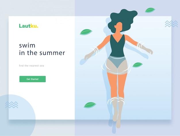 Modèle web de page de destination. femme dans la piscine en vacances