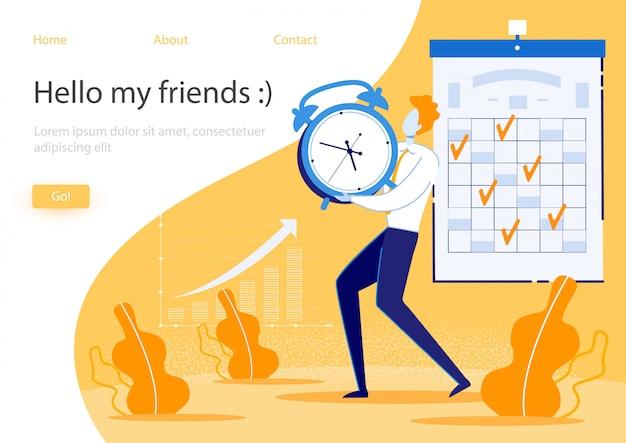 Modèle web ou page de destination avec illustration. les tâches terminées sont marquées sur le calendrier, les indicateurs de croissance sur le graphique. guy porte une montre lourde