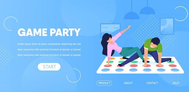 Modèle web de page de destination. jeu party couple jouer twister