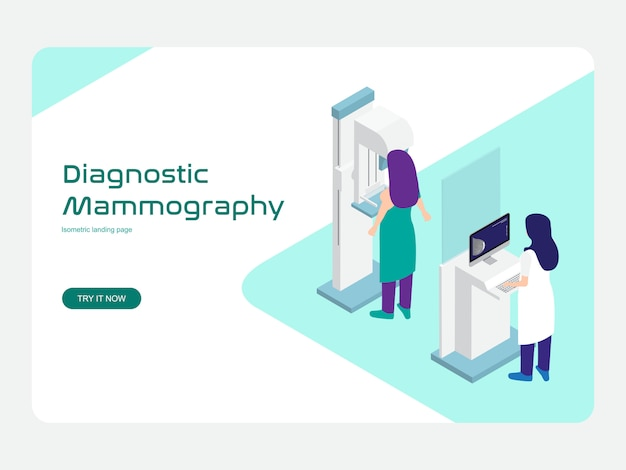 Modèle web de page de destination. mammographie diagnostique et de dépistage isométrique plat
