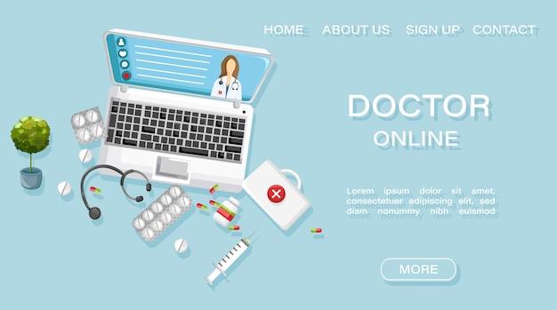 Modèle web de page de destination. modèle de site web de traitement médical en ligne pour médecins