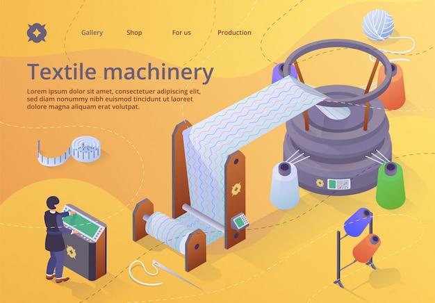 Modèle web de page de destination. ouvrier d'usine contrôlant l'énorme métier à tisser