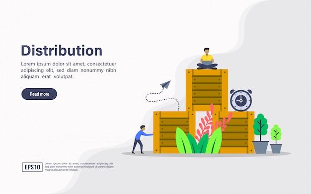 Modèle web de page de destination pour la distribution
