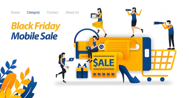 Modèle web de page de destination pour shop for black friday, réductions sur mobile, recherche et découverte, divers black friday sale sur internet.