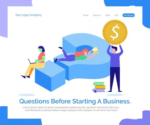 Modèle web de page de destination. questions avant de démarrer une entreprise.