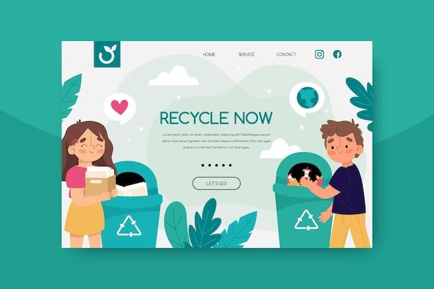 Modèle web de page de destination de recyclage