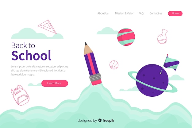 Modèle web de page de destination avec le thème du retour à l'école