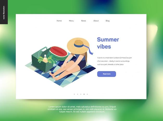 Modèle web de page de destination avec le thème de l'été, femme de pique-nique