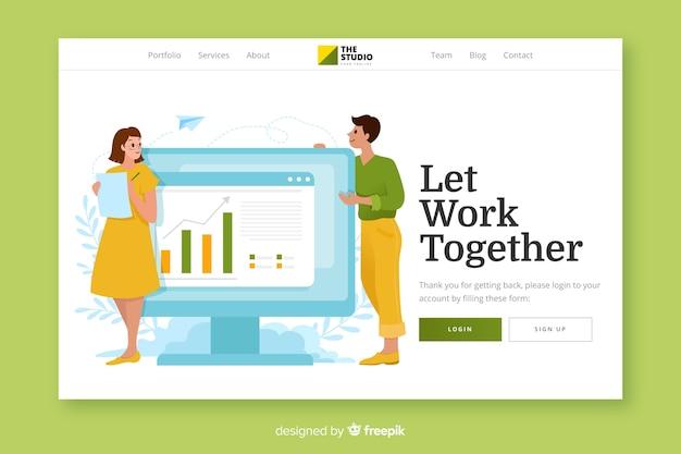 Modèle web de page de destination de travail d'équipe