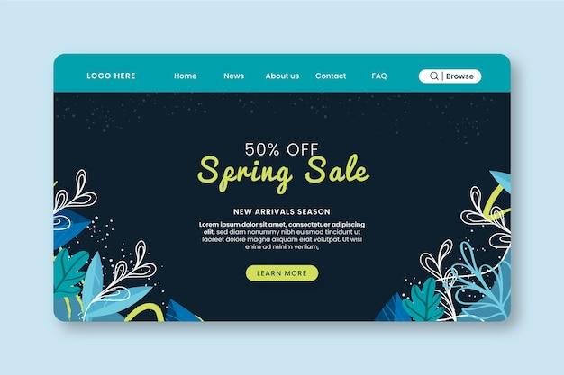 Modèle web de page de destination de vente de printemps