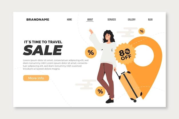 Modèle web de page de destination de vente de voyage