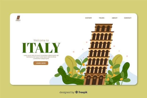 Modèle web de page de renvoi corporative pour une agence de voyagiste en italie