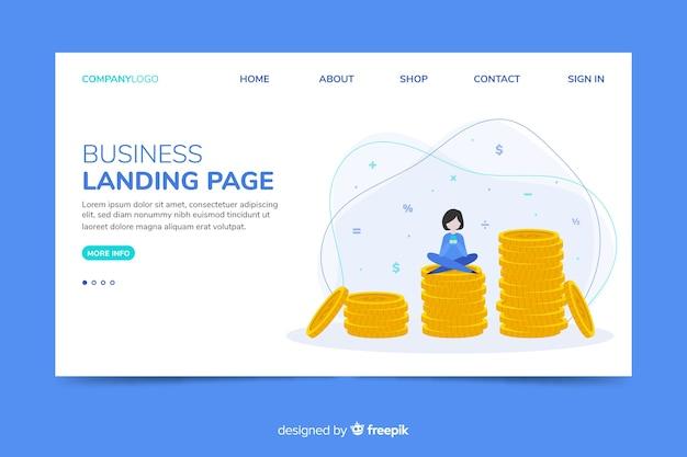 Modèle web de page de renvoi corporative avec thème d'économie d'argent