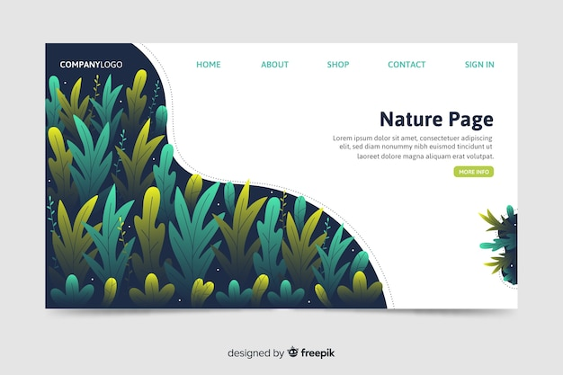 Modèle web de page de renvoi corporative avec un thème de nature