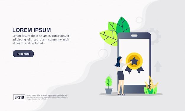 Modèle web de page de renvoi du concept d'optimisation seo & internet